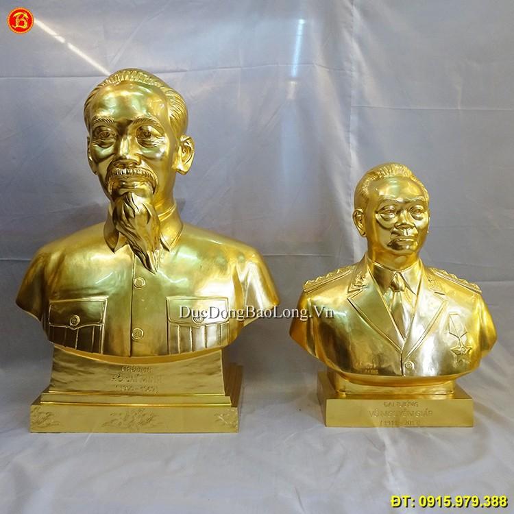 Tượng Bác Hồ Và Bác Giáp Dát Vàng 9999