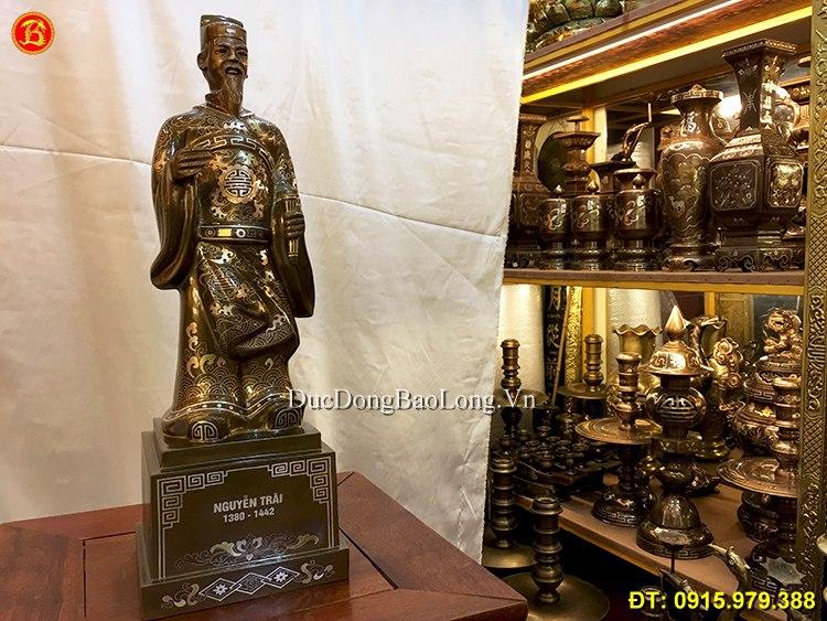 Tượng Nguyễn Trãi Bằng Đồng Khảm Tam Khí 50cm