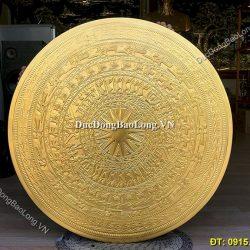Giá Mặt Trống Đồng Treo Tường Trang Trí, Tranh Mặt Trống Đồng Mạ Vàng 24k
