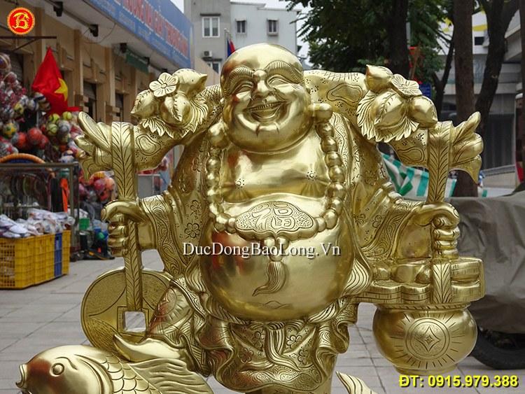 Tượng Phật Di Lặc Cưỡi Cá Chép Bằng Đồng 70cm