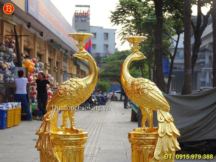 Đôi Chim Công Dát Vàng 9999 Cao 50cm