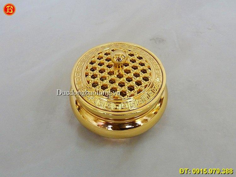 Lư Trầm Mạ Vàng 24k cỡ nhỏ dùng đốt trầm hương