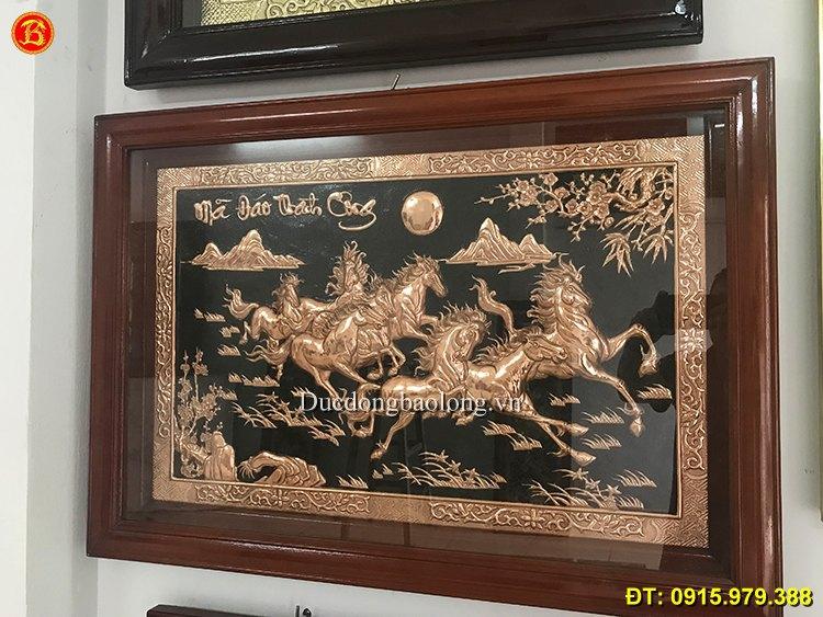Tranh Bát Mã Đồng Đỏ Cỡ Nhỏ Dài 88cm
