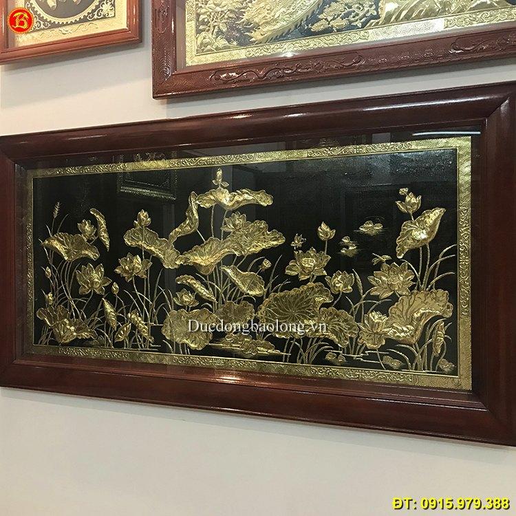 Tranh Hoa Sen Bằng Đồng Treo Tường 1m7