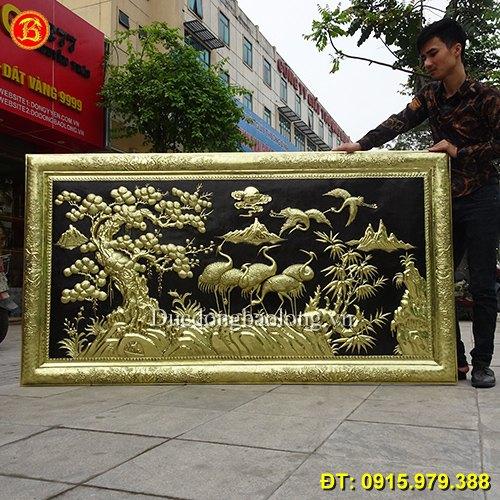 Tranh Tùng Hạc Diên Niên Bằng Đồng 1m97