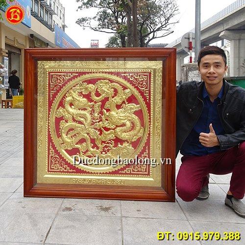 Tranh Rồng Bằng Đồng Phong Thuỷ Mạ Vàng 1m09