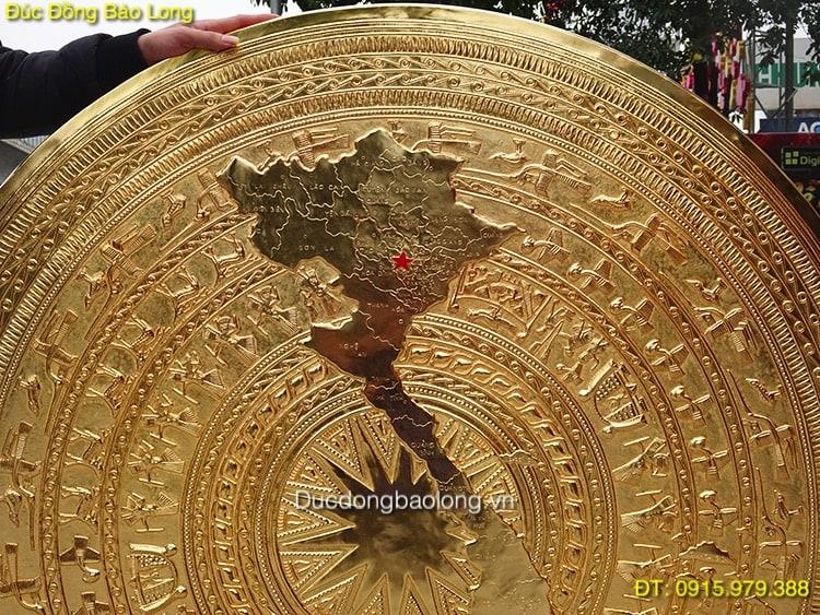 Mặt Trống Đồng Bản Đồ  Mạ Vàng 24k hàng đặt khách Quảng Trị