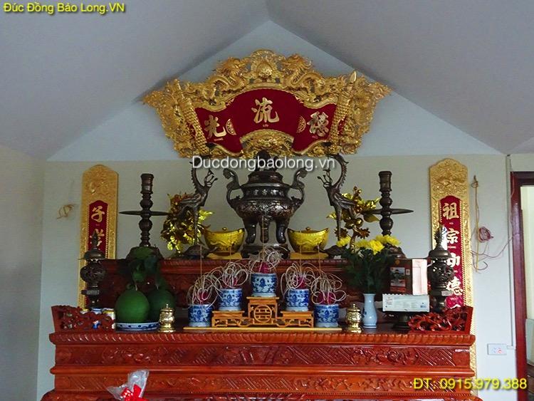 Bộ đồ thờ bằng đồng khảm tam khí cho khách hàng tại Lào Cai
