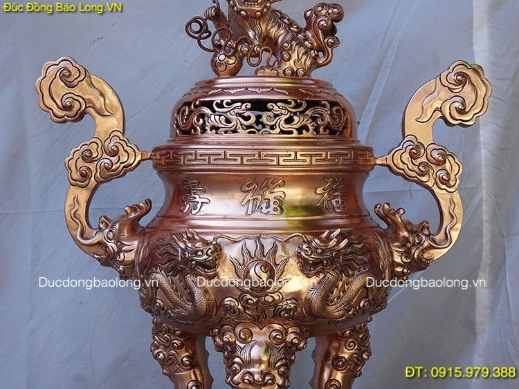 Đỉnh Đồng Đúc Rồng Nổi thờ cúng cao 69cm