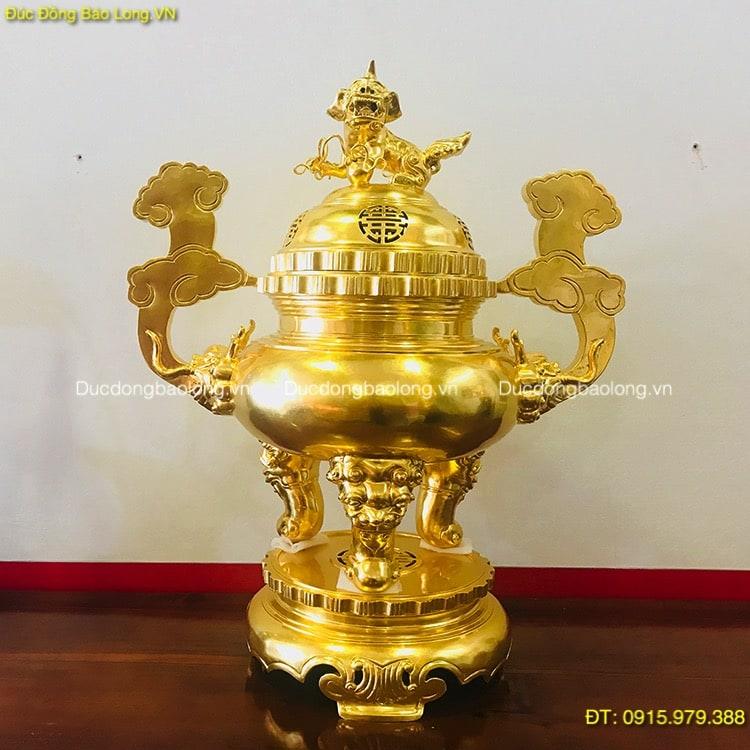Đỉnh Đồng Thờ Cúng Dát Vàng 9999, đỉnh thờ phủ vàng ròng