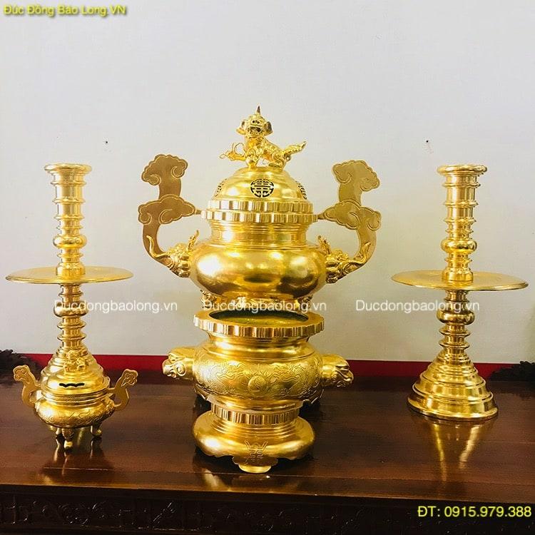 Đồ Thờ Bằng Đồng Dát Vàng (phủ vàng ròng 9999 toàn bộ)