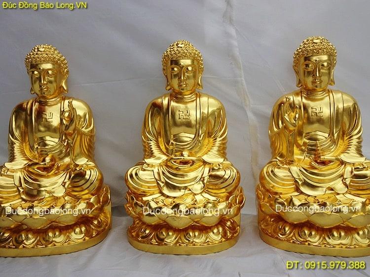 Tượng Tam Thế Phật Dát Vàng 9999 cao 58cm