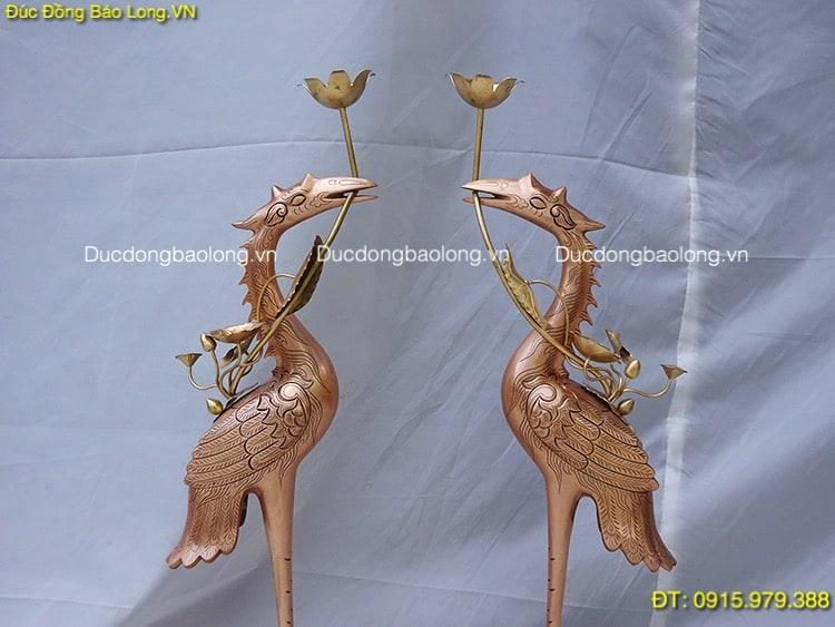 Hạc Thờ Đồng Đỏ cao 70cm thờ cúng gia tiên