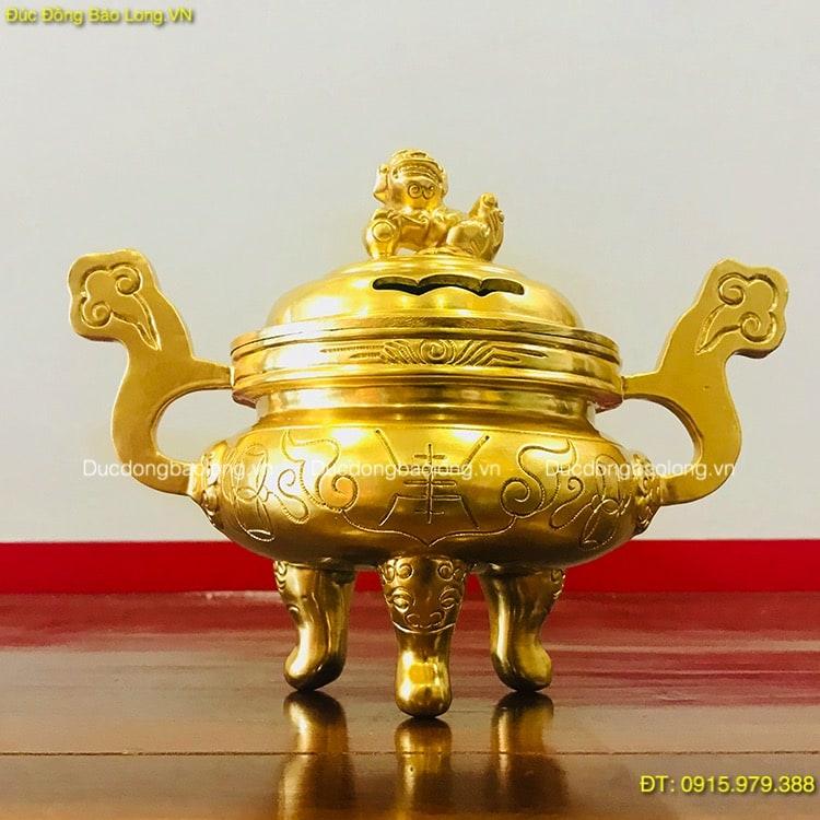 Lư Đốt Trầm Dát Vàng 9999 cao 20cm