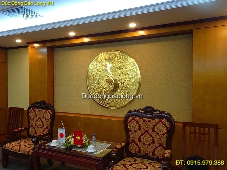 Mặt Trống Đồng Trang Trí mạ vàng 1m27 lắp ở HVKTQS
