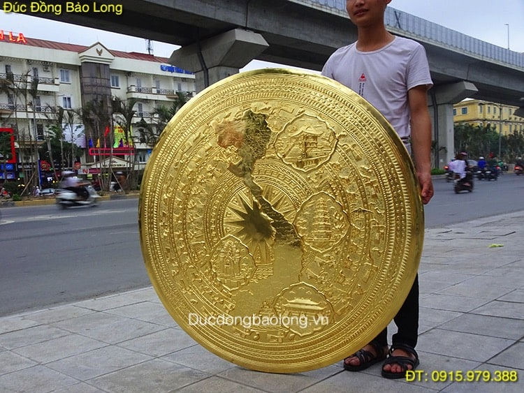 Mặt Trống Đồng Bản Đồ mạ vàng 24k 1m27