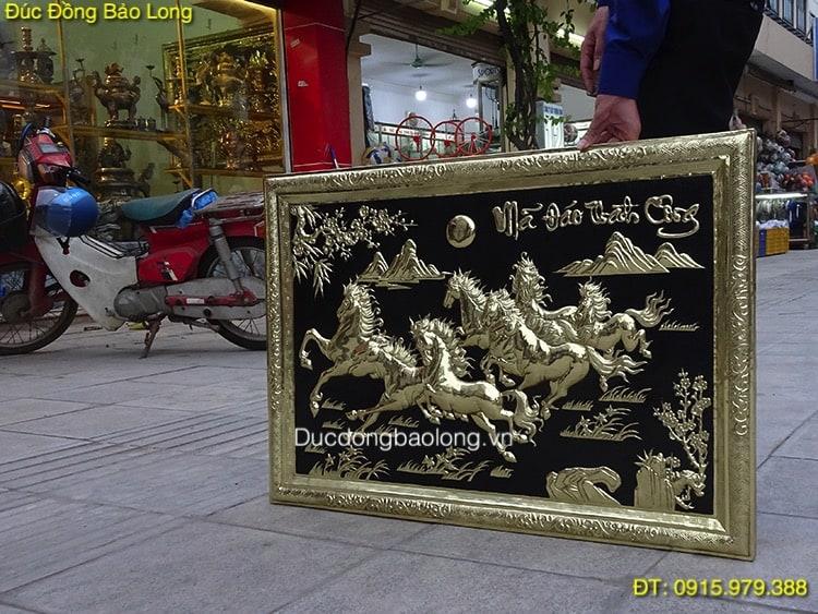 Tranh Bát Mã Khung Đồng dài 88cm x 61cm