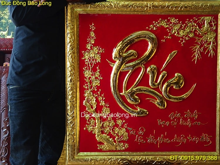 Chữ Phúc Thư Pháp Mạ Vàng 24k vuông 81cm