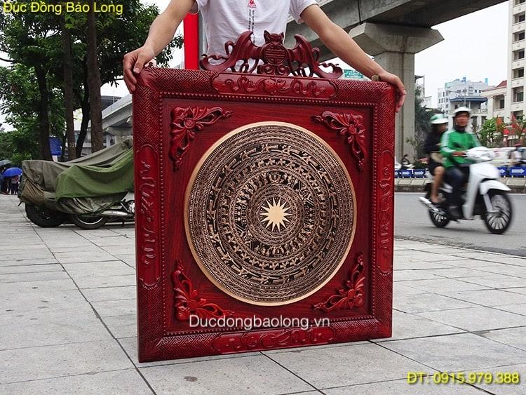Tranh Mặt Trống Đồng 60cm, khung gỗ Hương