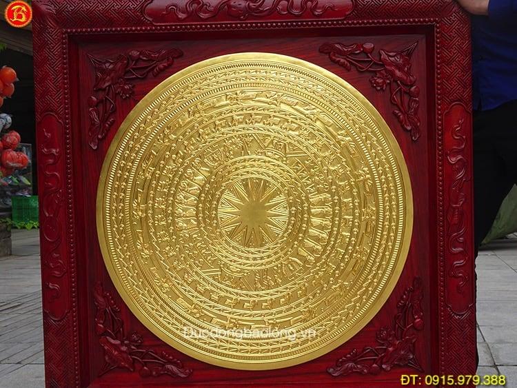 Tranh Mặt Trống Đồng Dát Vàng ĐK 80cm