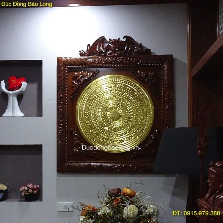 Tranh Mặt Trống Đồng Mạ Vàng, khung ngũ phúc 88cm