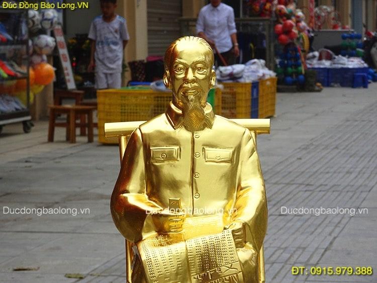 Tượng Bác Hồ Ngồi Ghế Dát Vàng cao 42cm