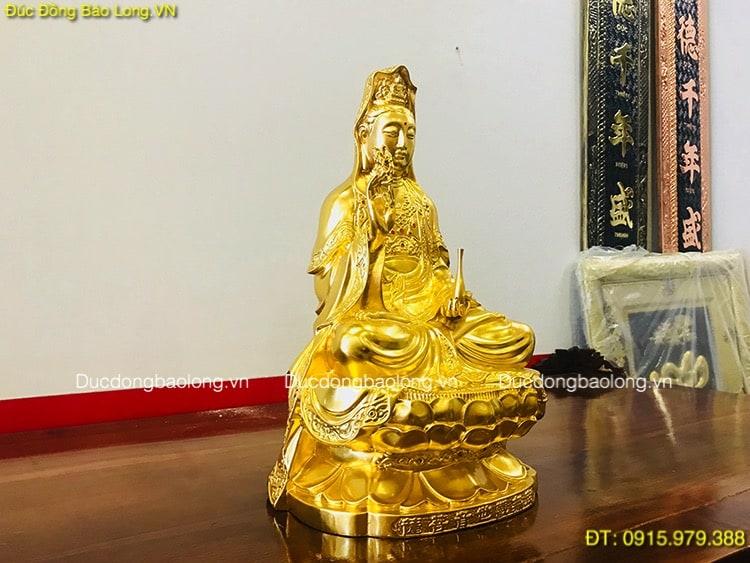 Tượng Phật Bà Dát Vàng 9999 cao 45cm