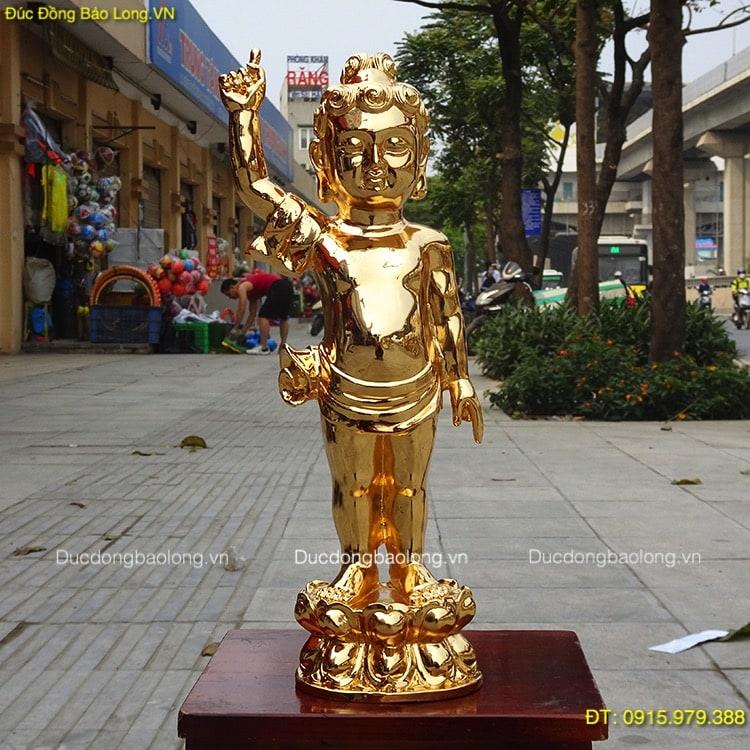 Tượng Phật Thích Ca Đản Sinh mạ vàng 24k