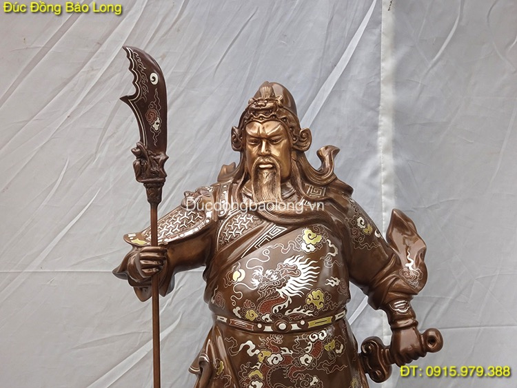 Tượng Quan Công Đồng khảm tam khí 69cm (mẫu mới)