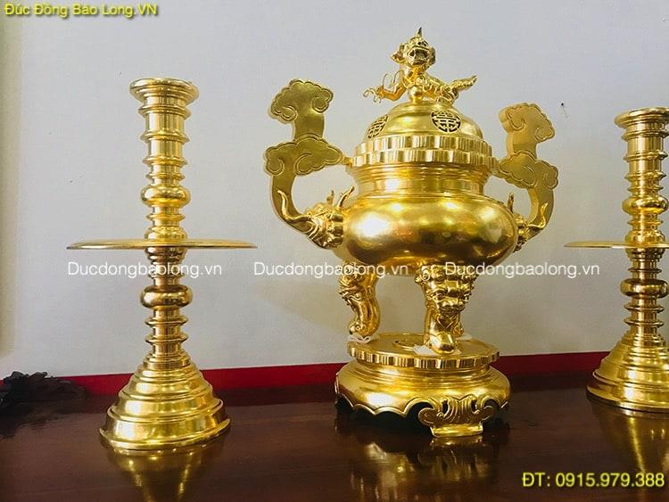 Bộ Tam Sự Thờ Cúng Dát Vàng cao 81cm