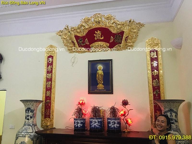Cuốn Thư Câu Đối Thờ Tổ Tiên mạ vàng 24k treo bàn thờ 1m76