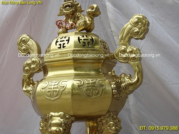 Đỉnh Đồng Bát Giác Thờ Cúng cao 69cm