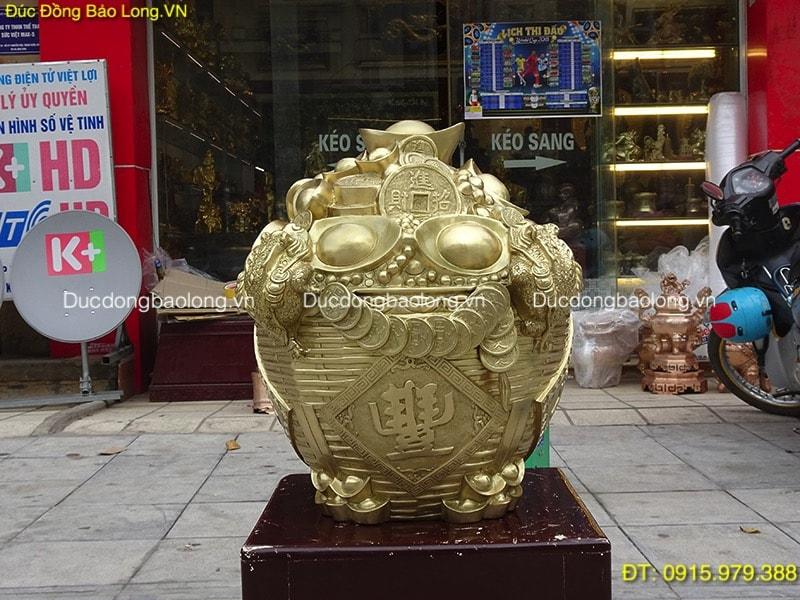 Giỏ Tiền Tài Lộc Bằng Đồng cát tút cao 48cm