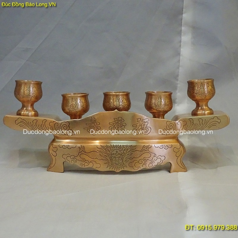 Ngai 5 Chén Đồng Đỏ đựng nước thờ cúng