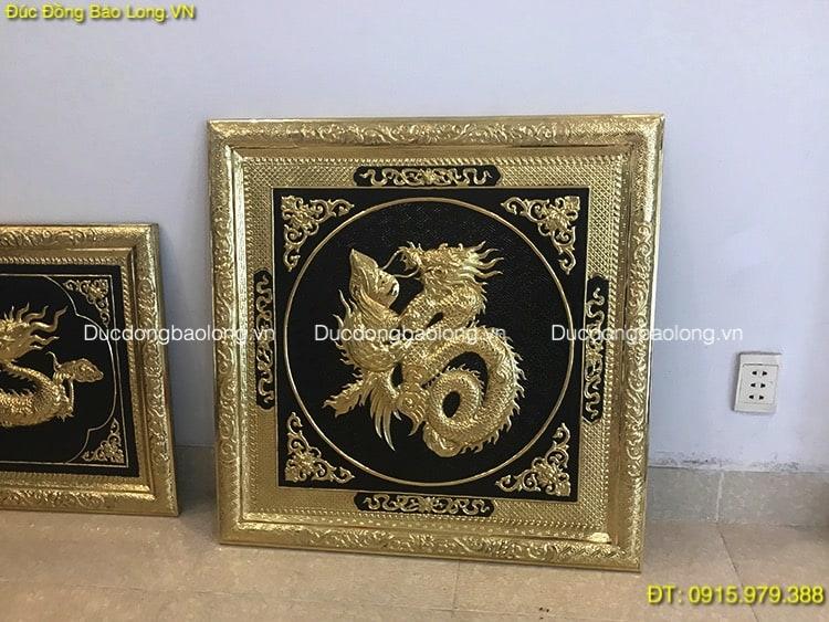 Tranh Đồng Chữ Phúc Hoá Rồng vuông 68cm