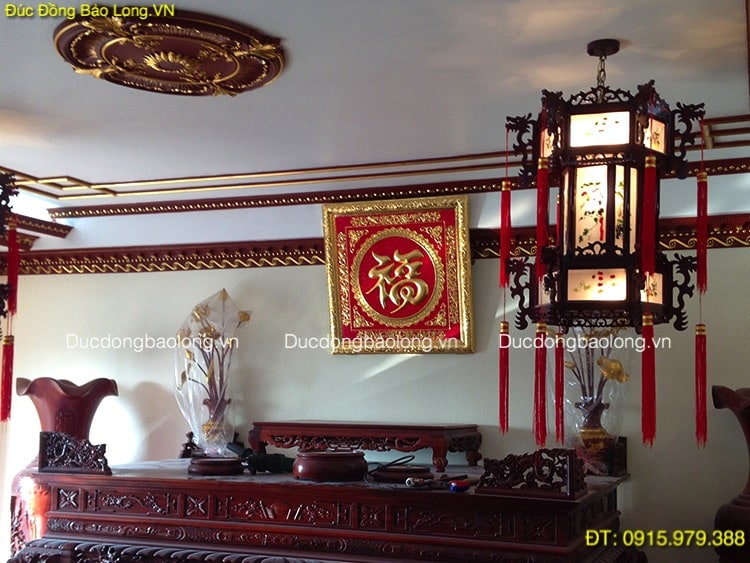 Chữ Phúc Tiếng Hán Mạ Vàng 24k vuông 81cm
