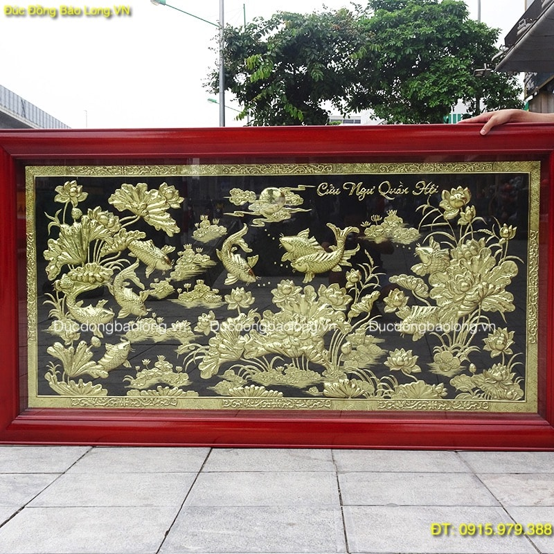 Tranh Cá Chép Hoa Sen bằng đồng dài 1m97