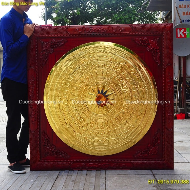 Mặt Trống Đồng Mạ Vàng 1m, khung gỗ hương đỏ 1m27