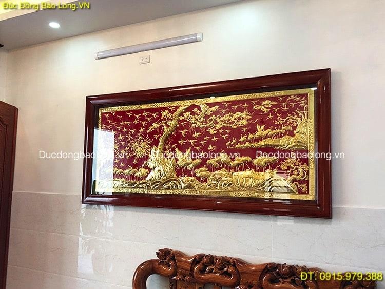 Tranh Tùng Hạc Mạ Vàng 100 con dài 2m31