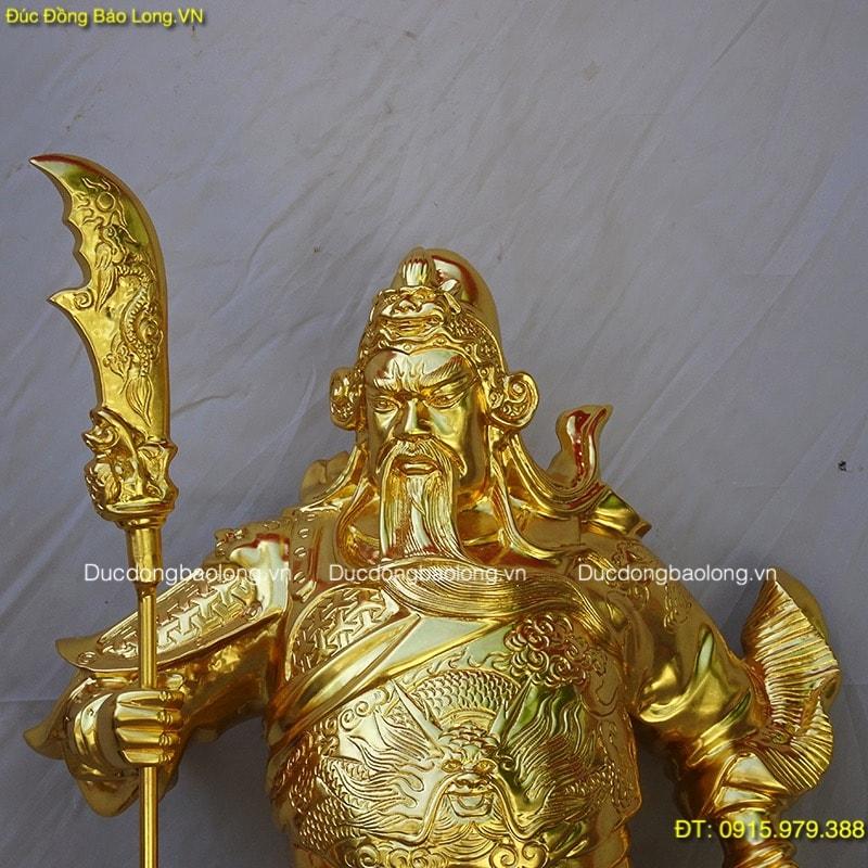 Tượng Quan Vân Trường Dát Vàng cao 69cm