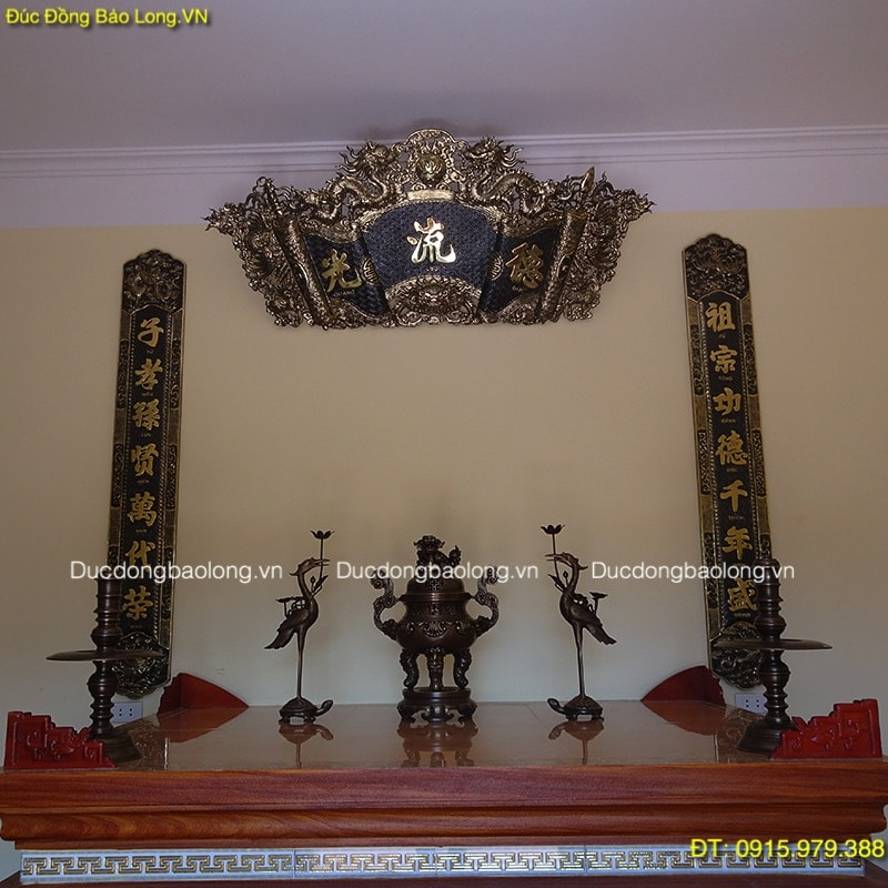 Cuốn Thư Câu Đối Đồng Giả Cổ treo bàn thờ 1m76