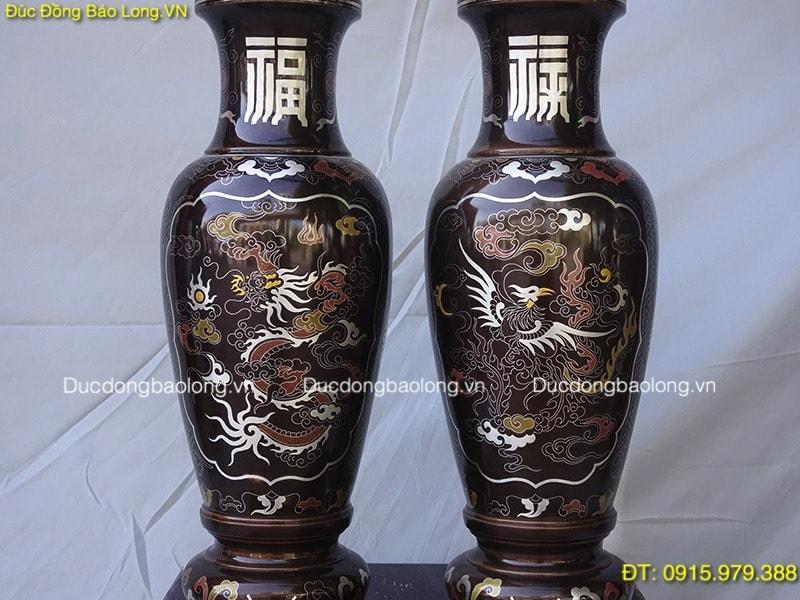 Lọ Hoa Đồng Khảm Ngũ Sắc thờ cúng cao 48cm