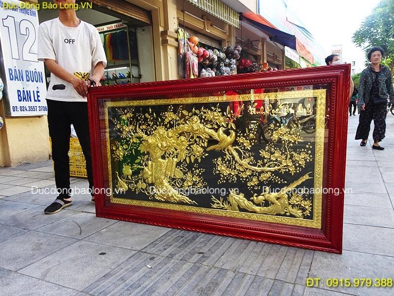 Tranh Treo Phòng Khách Mạ Vàng 24k dài 1m55