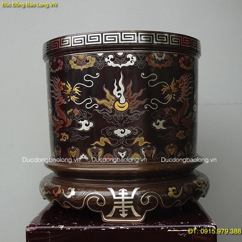 Bát Hương Thờ Cúng khảm ngũ sắc 42cm đặt ở Chùa Lưu Cảnh