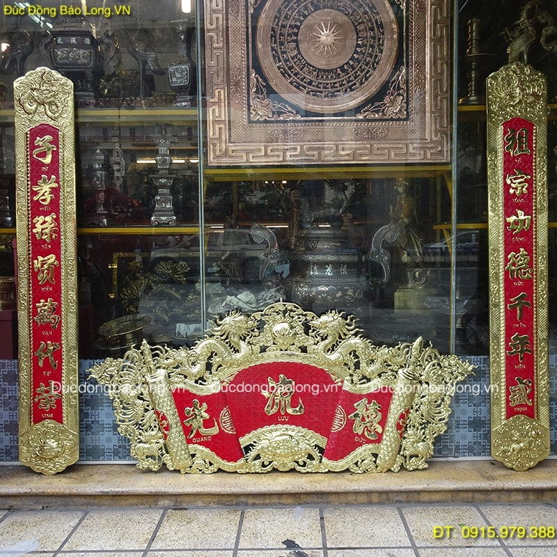 Cuốn Thư Câu Đối Đức Lưu Quang treo bàn thờ dài 1m75