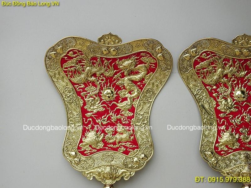Quạt Ba Tiêu Bằng Đồng vàng 81cm x 55cm