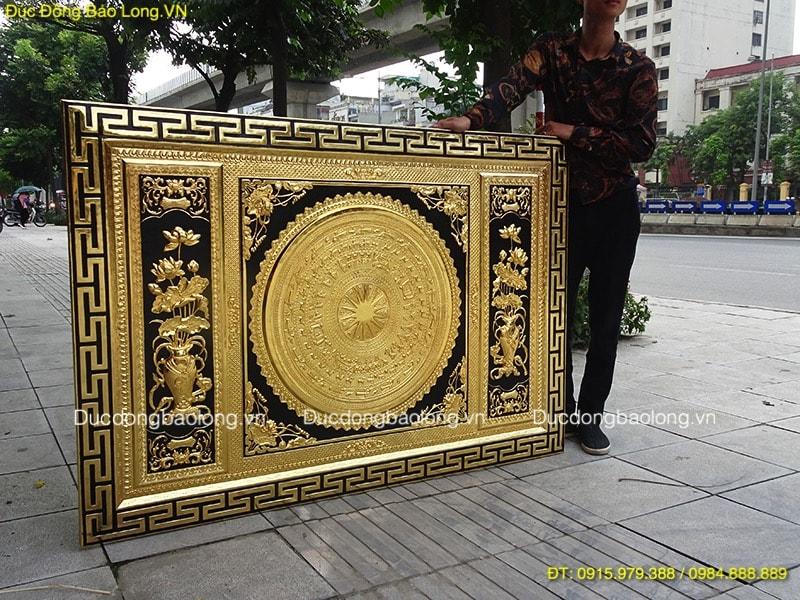 Tranh Trống Đồng Hoa Sen mạ vàng dài 1m55