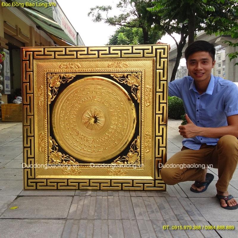 Tranh Mặt Trống Đồng 1m07 mạ vàng 24k
