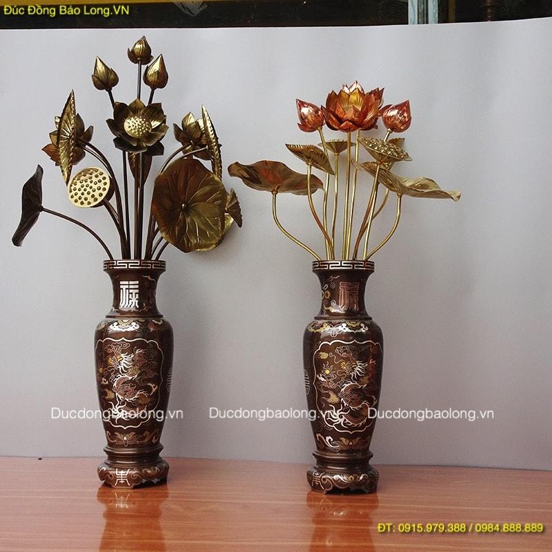 Lọ hoa Sen thờ khảm Ngũ Sắc, đồ thờ cúng