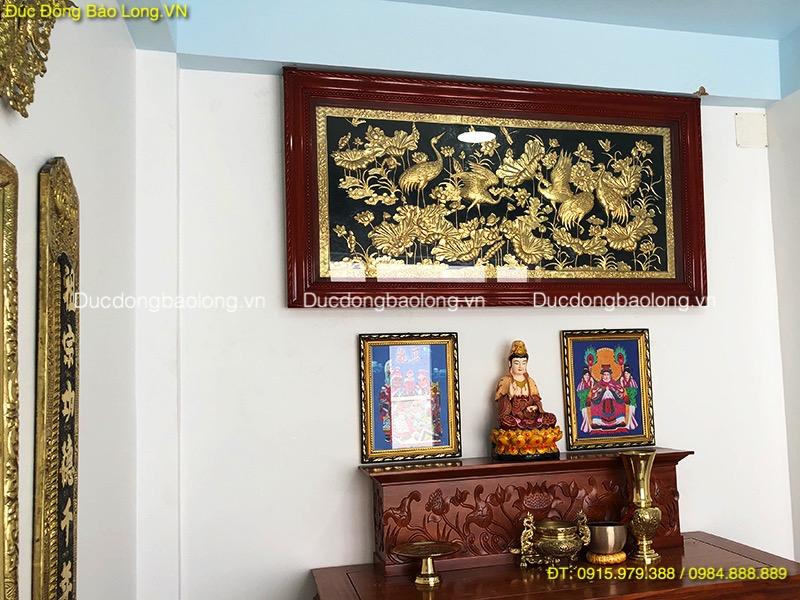 Tranh Đồng Treo Phòng Thờ sen hạc dài 2m31
